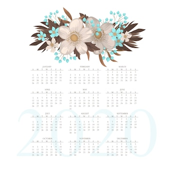 Calendário 2020. calendário floral com flores azuis e luz