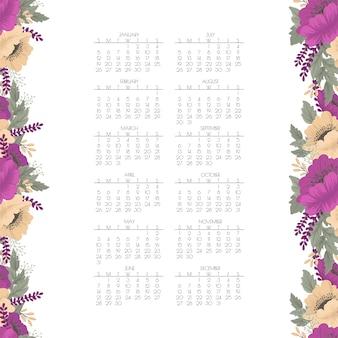 Calendário 2020. calendário floral com flores roxas e amarelas