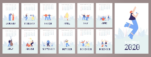 Calendário 2020 cartões modelo música pessoas estilo