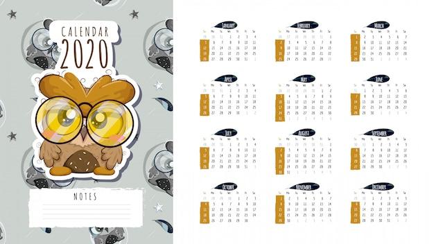 Calendário 2020 com boa coruja
