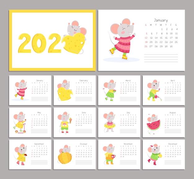 Calendário 2020 com conjunto de modelos de vetor plana de ratos