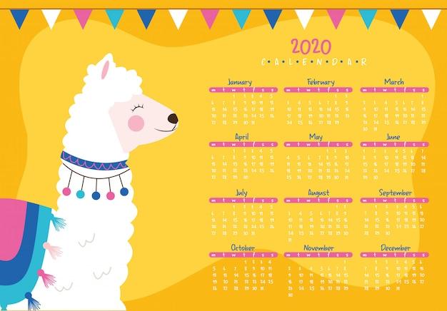 Calendário 2020 com lhama