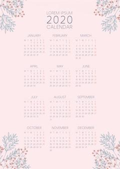 Calendário 2020 do rosa do pêssego da flor