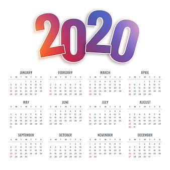 Calendário 2020 feliz ano novo
