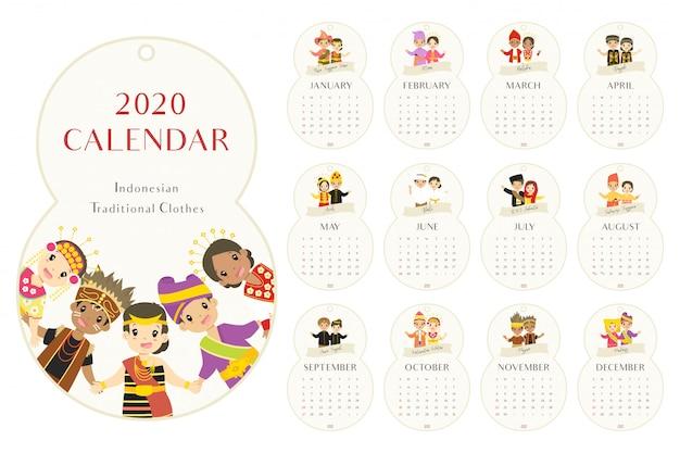 Calendário 2020 indonésia roupas tradicionais, desenhos animados