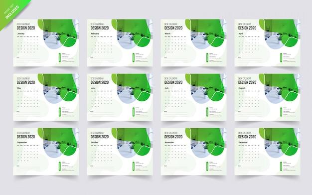 Calendário 2020. modelo de calendário exclusivo forma de onda
