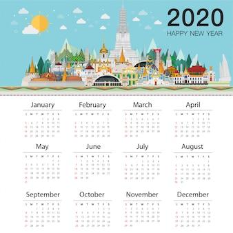 Calendário 2020 na moda. bem-vindo à tailândia e pontos de referência