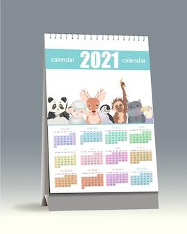 Calendário 2021. bonito calendário 2021 para crianças