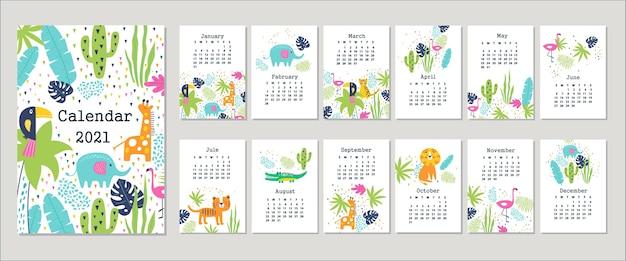 Calendário 2021 com animais fofos. desenhado à mão