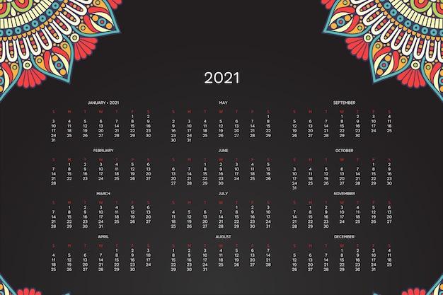Calendário 2021 com mandala oriental