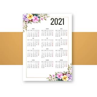Calendário 2021 moderno para design de brochura floral decorativo