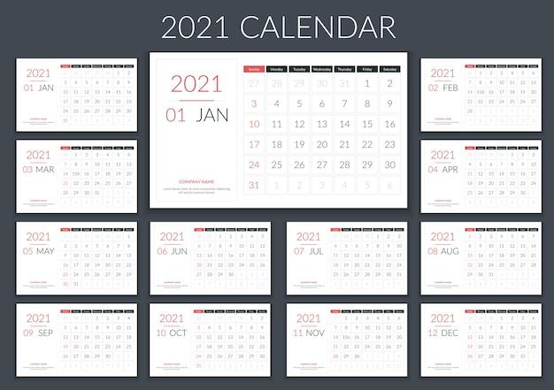 Calendário 2021, planejador, 12 páginas, semana começa no domingo