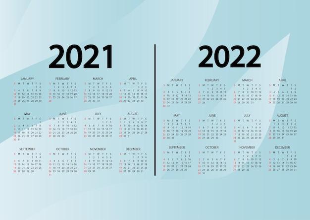 Calendário 20212022 anos a semana começa no domingo calendário anual 2021 2022 modelo