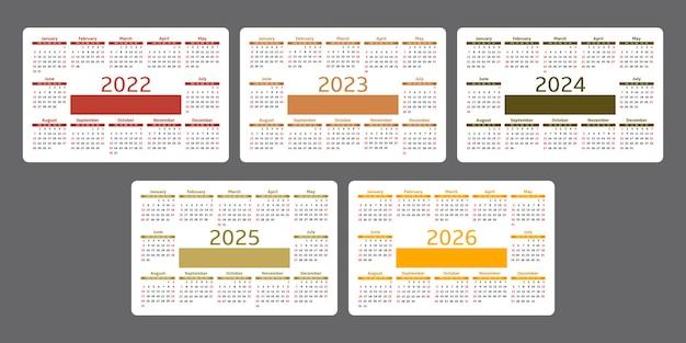 Calendário 2022 2023 2024 2025 2026 modelo de design horizontal simples a semana começa no domingo
