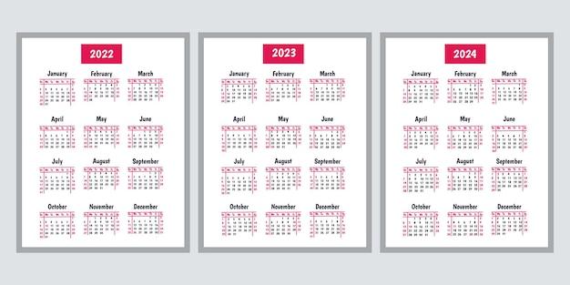 Calendário 2022 2023 2024 modelo de calendário de parede vertical a semana começa no domingo ilustração vetorial