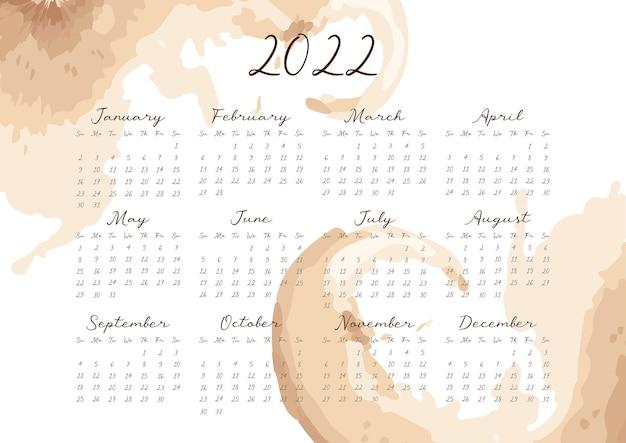 Calendário 2022 com aquarela vetor abstrato em tons bege terrosos formato horizontal a4 a5 a3