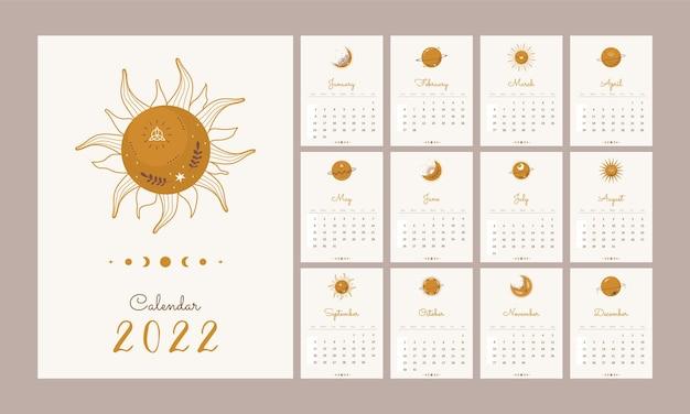 Calendário 2022 com elementos celestiais boho.