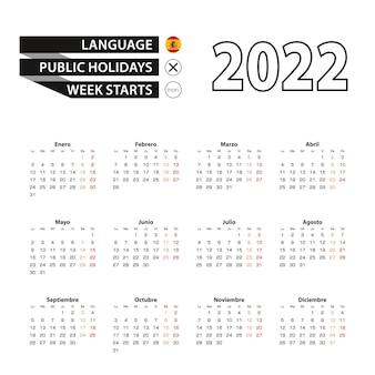 Calendário 2022 em espanhol, semana começa na segunda-feira.