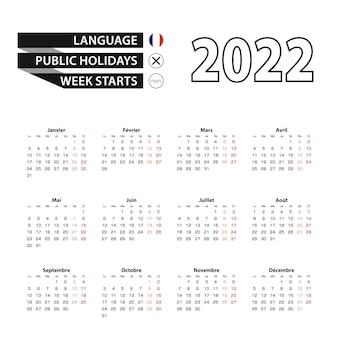Calendário 2022 em francês, semana começa na segunda-feira.