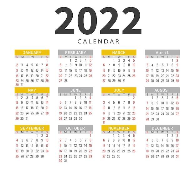 Calendário 2022 gráficos vetoriais de meses e dias