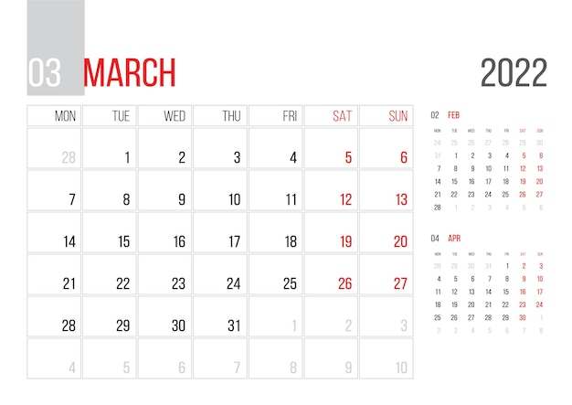 Calendário 2022 planejador design do modelo corporativo mês de março a semana começa na segunda-feira grade básica