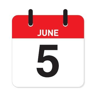 Calendário 5 de junho