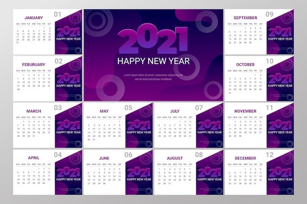 Calendário abstrato de ano novo de 2021