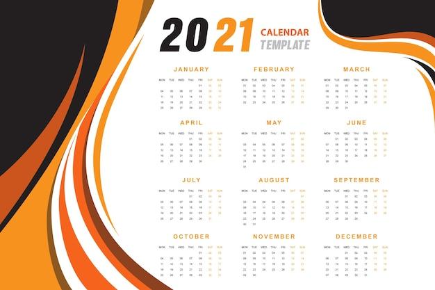 Calendário abstrato ondulado laranja 2021