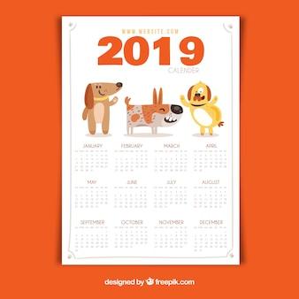 Calendário adorável 2019 com design plano
