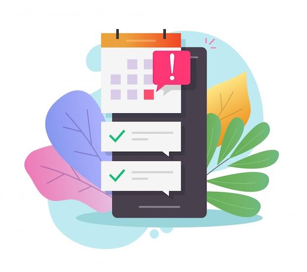 Calendário agendado on-line para celular com data importante de prazo