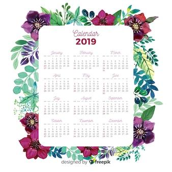 Calendário aguarela linda com estilo floral