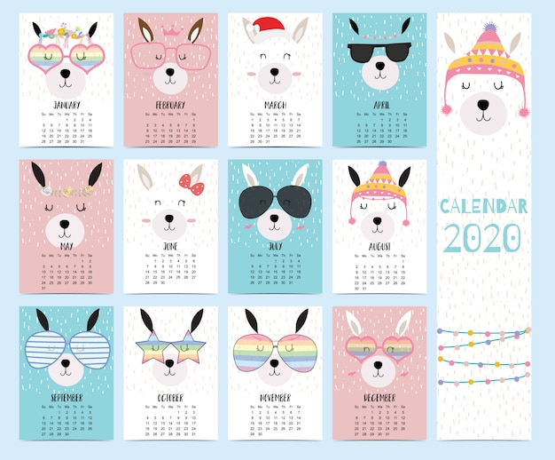 Calendário animal 2020 com lhama para crianças.