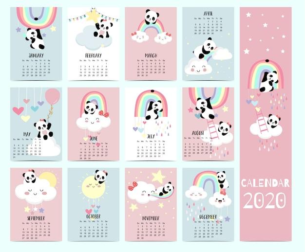 Calendário animal 2020 com panda, urso, arco-íris para crianças.