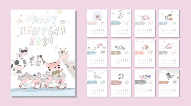 Calendário animal bonito dos desenhos animados conjunto 2020