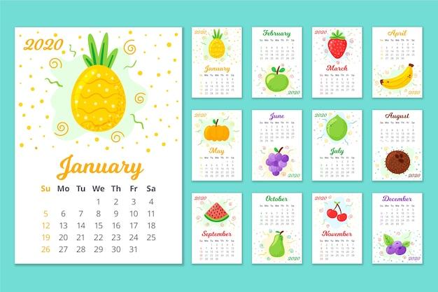 Calendário anual colorido 2020