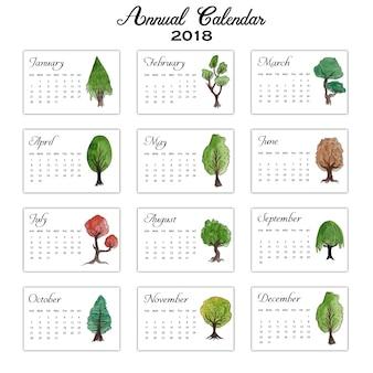 Calendário anual das árvores da cor da água 2018