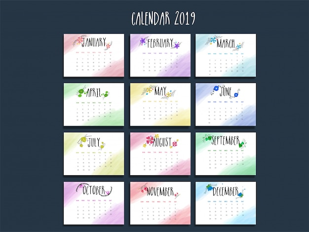 Calendário anual de 2019.