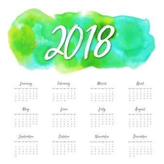 Calendário anual de ano novo de 2018 da aguarela