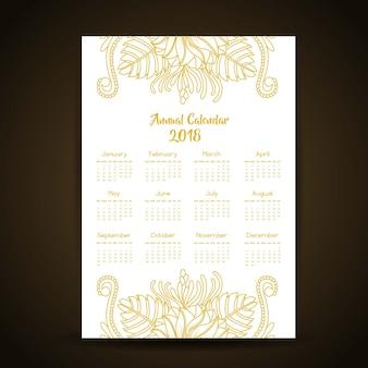 Calendário anual de mandala style de ouro 2018