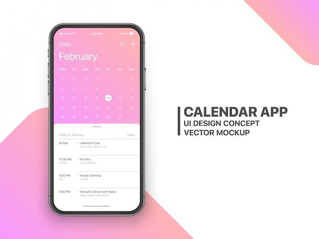 Calendário app ui ux conceito página fevereiro