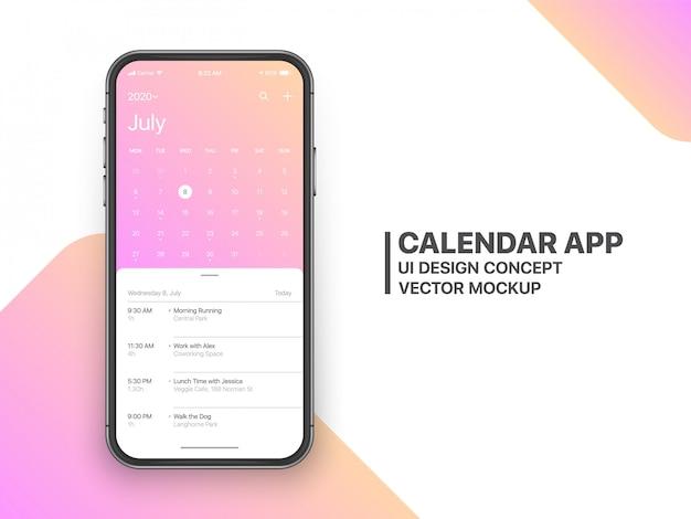Calendário app ui ux conceito página julho
