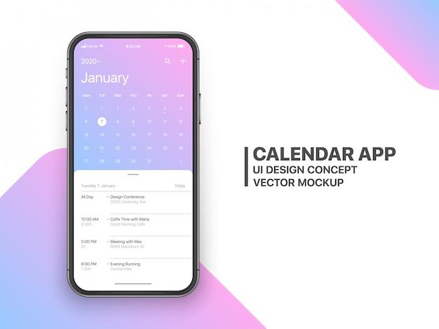 Calendário app ui ux concept página janeiro