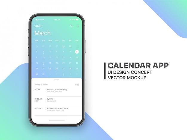 Calendário app ui ux concept página março