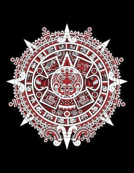 Calendário asteca vermelho