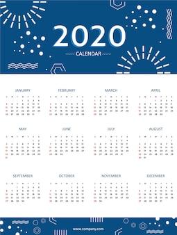 Calendário azul 2020