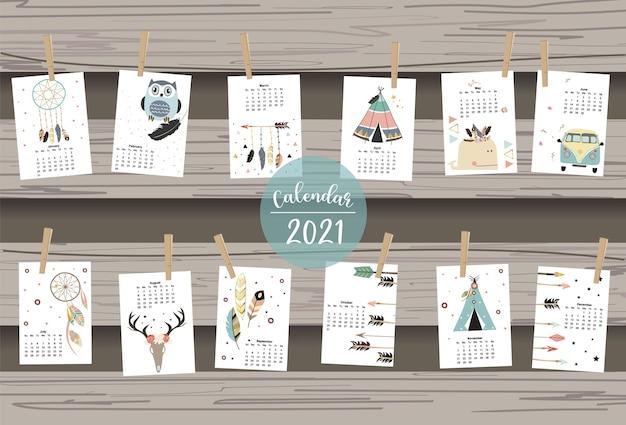 Calendário boho bonito 2021 com penas, coletor, selvagem, grinalda para crianças