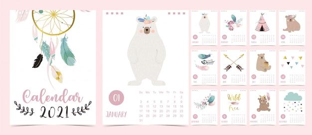 Calendário boho bonito 2021 com urso, apanhador de sonhos e penas