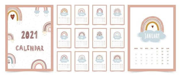 Calendário bonito 2021 com arco-íris boho para crianças. ilustração dos desenhos animados. modelo em estilo escandinavo.