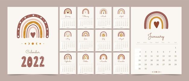 Calendário bonito 2022 com arco-íris boho para crianças.