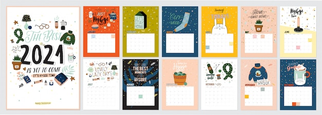 Calendário bonito. calendário de planejador anual com todos os meses. bom organizador e cronograma. ilustração colorida brilhante com citações motivacionais.